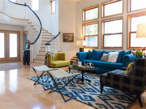 Blue Couches Living Rooms by Blank Space Gets Eclectic Modern Design Jac Interiors Hgtv
