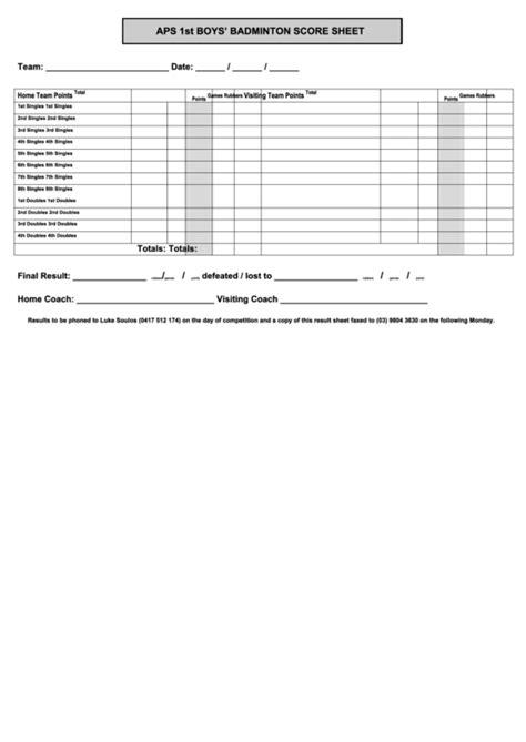 badminton score sheet printable