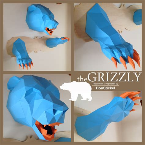 Papercraft Trophy - grizzly trophyhead papercraft by donstickel on deviantart