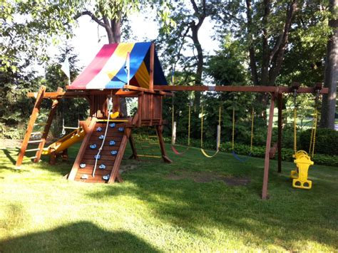 rainbow swing set stain rainbow play systems swing set 1800 in usc peters