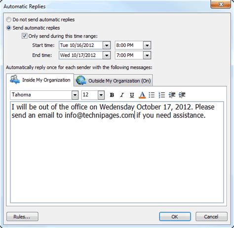 away message template ms outlook set out of office message