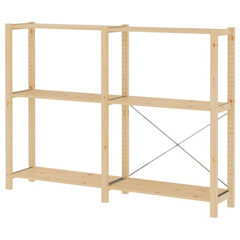 Ivar 2 Sections Shelves Pine 174x30x124 Cm Ikea Ikea Wood Shelves