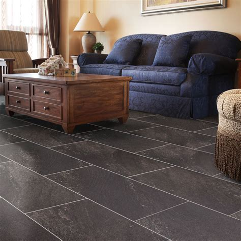 Dark Grey Natural Stone Effect Waterproof Luxury Vinyl