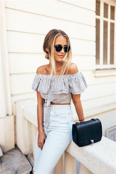 trendy spring outfits    shoulder tops