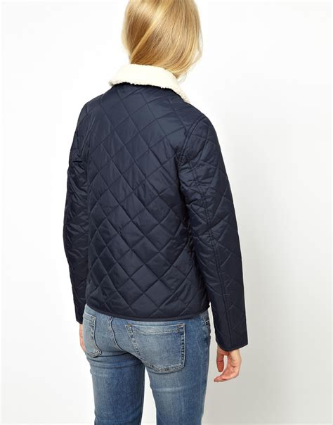 Quilted Jacket With by Wills Quilted Jacket With Shearling Collar In Blue Lyst