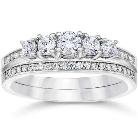 5 8 carat vintage real engagement wedding ring set