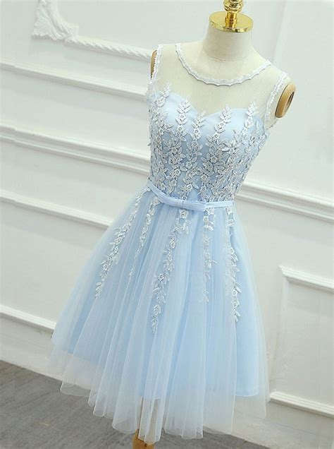 light blue  neckline short pretty homecoming dresses