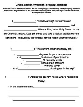 weather report template weather forecast template by whitener tpt