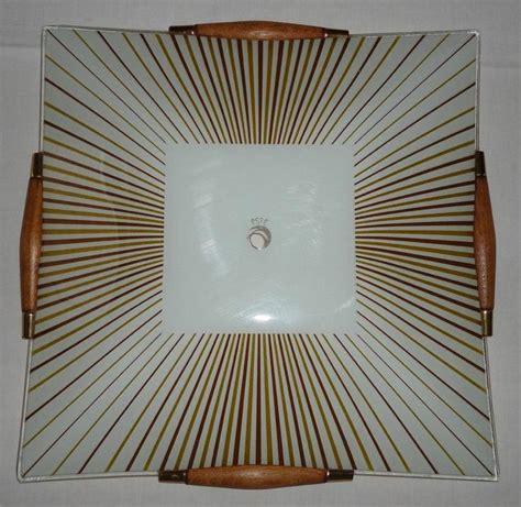 vintage mid century glass wood ceiling light l shade