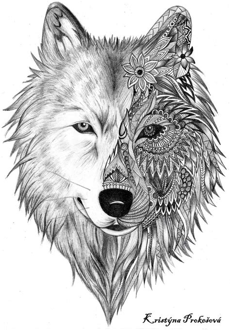 wolf head tattoo black ink deer and wolf design