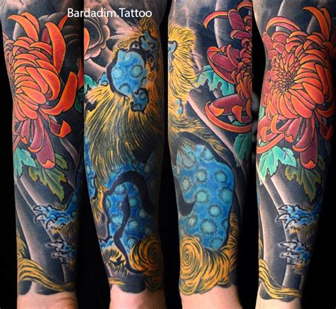 japanese tattoo new jersey shishi lion and chrysanthemum japanese tattoo cover up