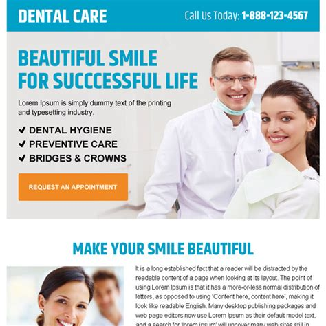 Dental Care Service Pay Per Click Landing Page Design Templates Dental Landing Page Template