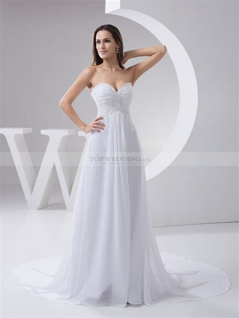 beaded and pleated strapless chiffon bridal dress