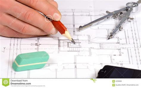 Architect Work Architect Work With Blue Print Royalty Free Stock Image