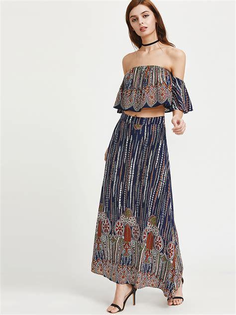 Layer Flounced Skirt Aq806 flounce layered neckline ruffle top with skirt shein sheinside