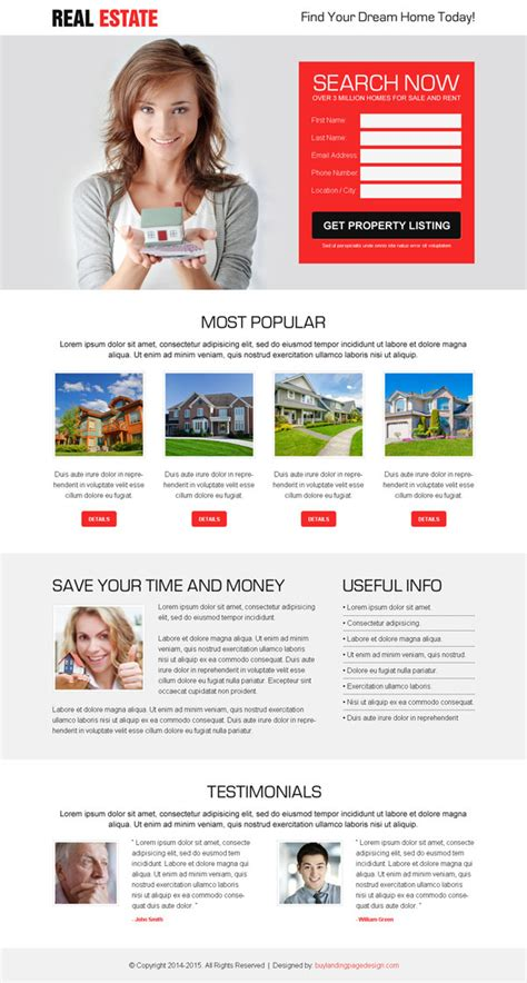 free landing page design templates for free download psd html