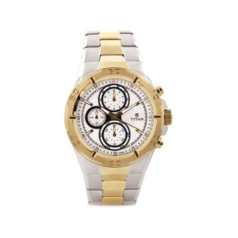 buy titan gold and silver chronograph watches