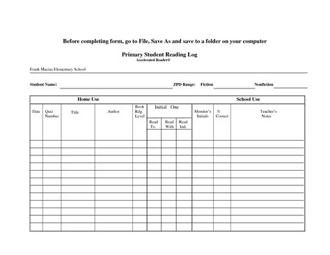 printable ar reading log best photos of ar student reading log printable student