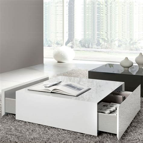 white gloss coffee table with drawers box square coffee table with 2 drawers white high gloss