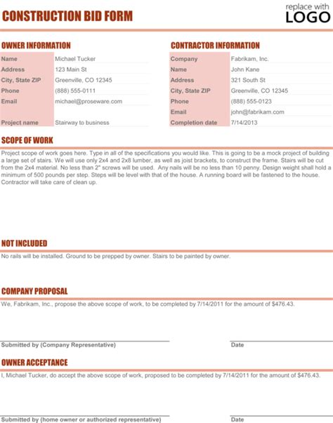 Construction Proposal Template 4 Best Sle Project Bid Template