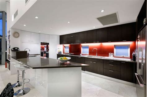 Backsplash Ideas For Bathrooms chatsworth home showcases vibrant red accents and visual