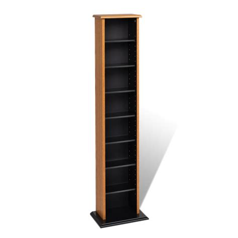 8 shelf media storage shelf oak brown black bookcases