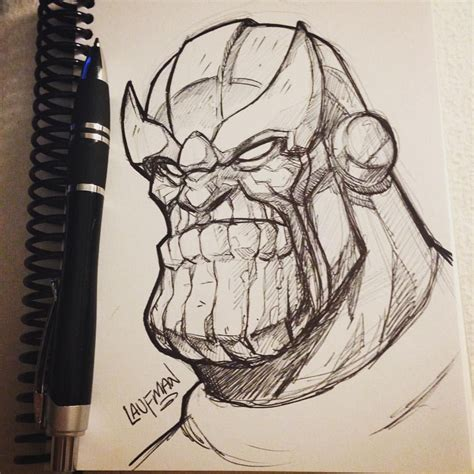 Sketches In Pen by Day 05 Thanos Pen Sketch Dailydraw Thanos Marvel