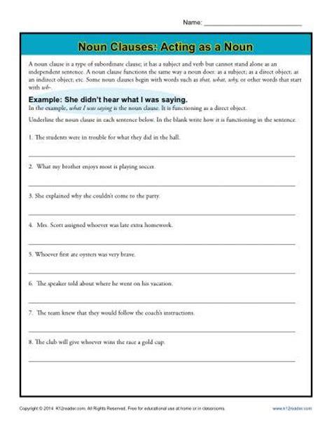 Noun Phrases Worksheet by Noun Clauses Acting As A Noun Noun Clause Worksheets