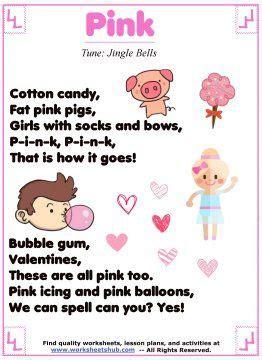 pink color song 17 best preschool worksheets images on
