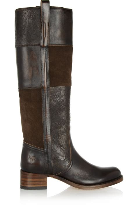 Patchwork Boots - frye patchwork suede and leather knee boots in