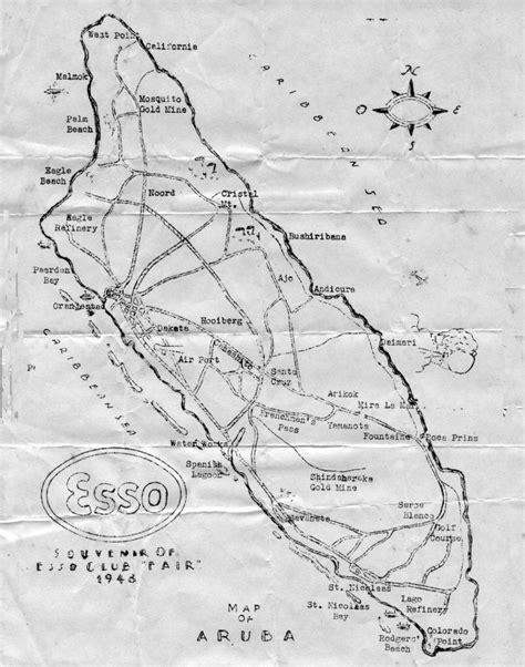 printable aruba road map very early esso road map of arub