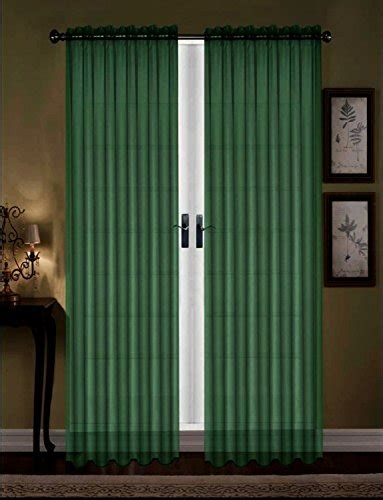 hunter green curtains awad home fashion 2 panels solid hunter green sheer voile