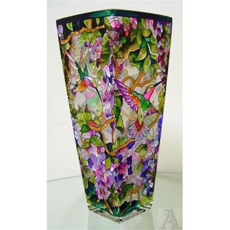 Stained Glass Vase flower hummingbird stained glass vase stained glass