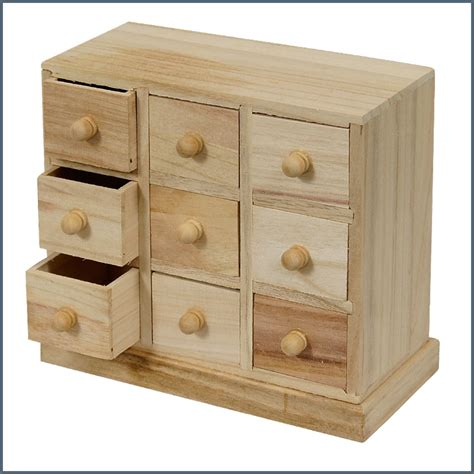unfinished wood decorable diy jewellery box with 9 drawers