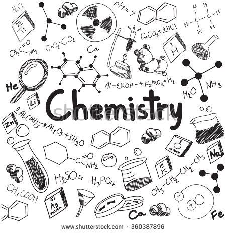 doodle create tools chemistry science theory bonding formula equation stock