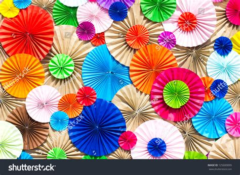 Circle Origami Paper - circle radial pattern origami paper craft stock photo