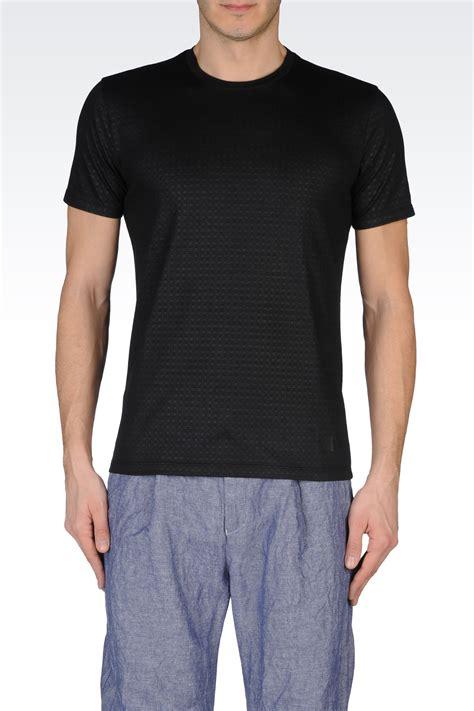 Kaosbajut Shirt Armani 2 lyst emporio armani checked jersey tshirt in black for