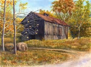 barn artwork barn watercolor painting print by cathy hillegas 8x10