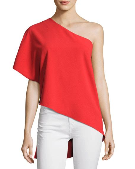 Alice Olivia Mellie One Shoulder Drape Top Bright Red