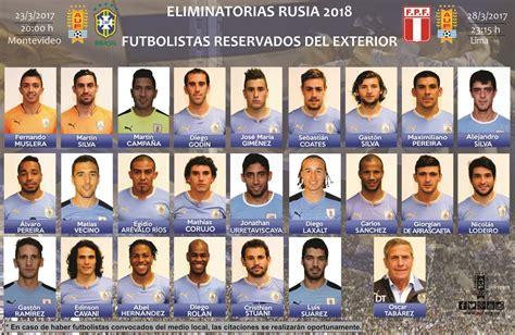 uruguai convoca 23 jogadores para duelos contra brasil e peru