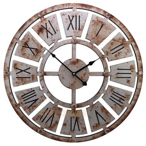 shabby chic large 58cm thin rustic wall clock rusted iron
