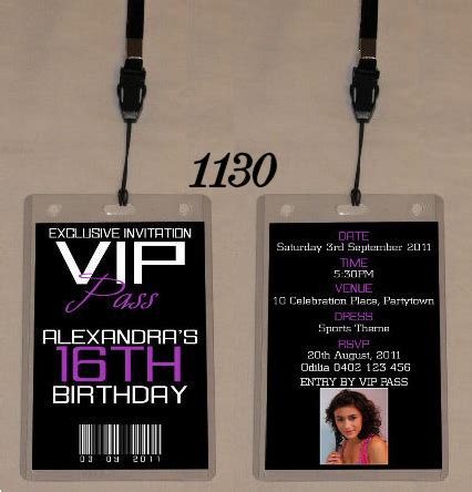 Any Age Birthday Vip Pass Invitation Lanyard Double Sided 1130 Sour 16 Pinterest Vip Vip Birthday Invitations Templates Free