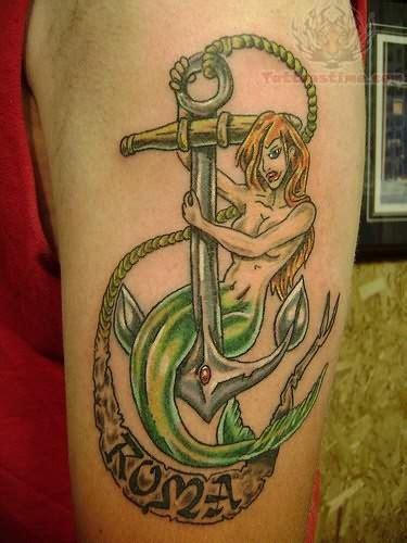 mermaid anchor tattoo anchor and mermaid