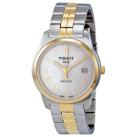 Tissot Pr 100 Gent Silver Two Tone Stainless Steel T1014102203 tissot pr 100 silver two tone stainless steel s t0494102203301 jomashop