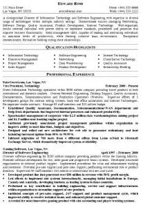 Resume Exles It by Director Of It Resume Exle