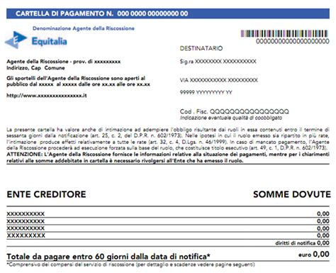 ufficio tributi cuneo nuovo modello di cartella di pagamento aggiornato all