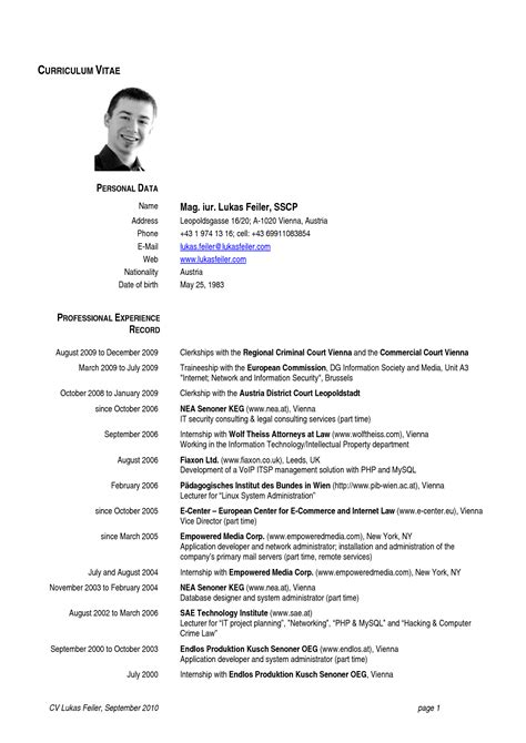 europe cv sles cv template european http webdesign14