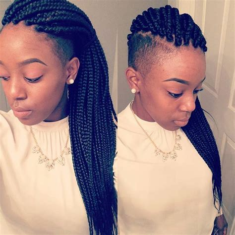 imitate half shaved look with braids 17 best images about shaved side on pinterest faux locs