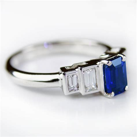 emerald cut sapphire ring with baguette diamonds flickr