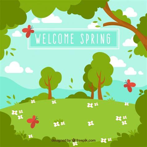 fondo fotos y vectores gratis fondo de paisaje primaveral con 225 rboles y mariposas